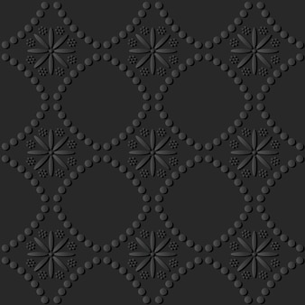 Arte de papel oscuro línea de puntos redondos flor cruzada, vector de fondo de patrón de decoración elegante