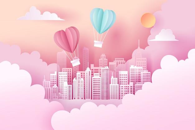 Arte de papel y paisaje, estilo artesanal digital del día de san valentín