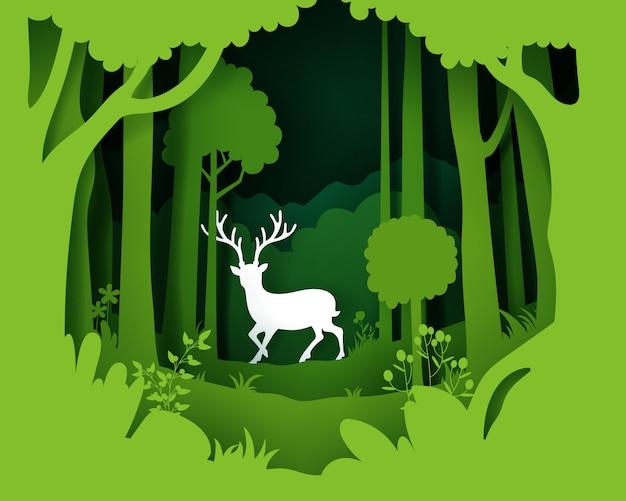 Arte en papel de paisaje con plantaciones de bosque profundo y ciervos.