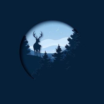 Arte en papel del paisaje de la temporada de invierno y navidad