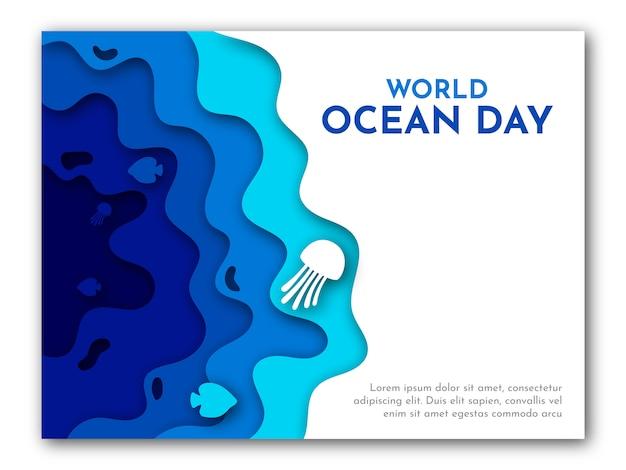 Arte en papel de la plantilla del día mundial del océano con la ilustración azul del mar, los peces y las medusas