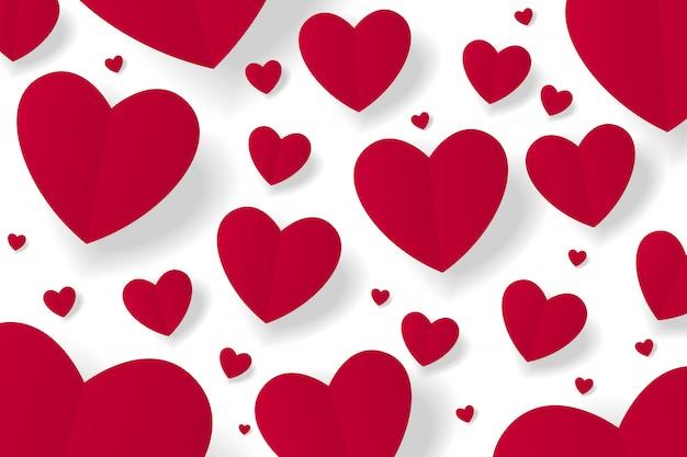 Arte de papel rojo origami corazón sobre fondo blanco. ilustración vectorial