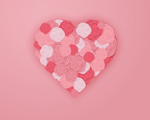 Arte de papel rosa en forma de corazón ilustración vectorial