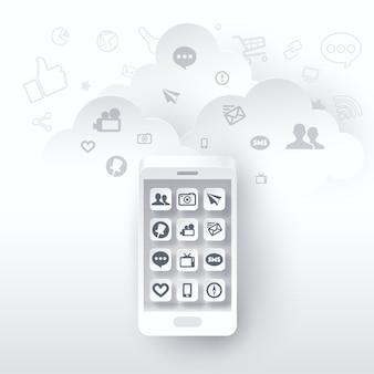 Arte de papel del teléfono móvil y aplicación de redes sociales en la pantalla.