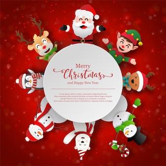 Arte de papel con temática navideña de papá noel y amigos con espacio de copia