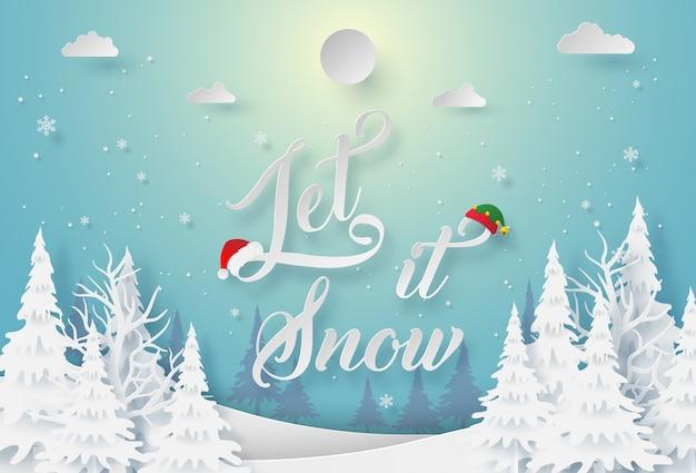 Arte en papel de la temporada de invierno let it snow