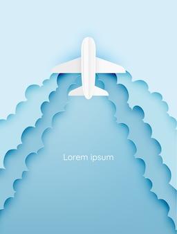 Arte de papel de vista aérea del aeroplano con la ilustración de vector de fondo hermoso