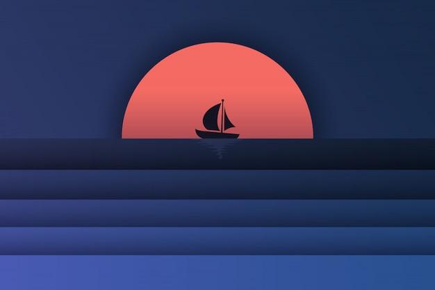 Arte en papel de vista al mar y puesta de sol con un bote.