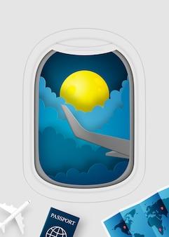 Arte de papel de vista de ventana de avión con hermoso cielo nocturno