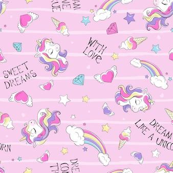 Arte. patrón de unicornio transparente sobre un fondo rosa. impresión de ilustración de moda en estilo moderno para ropa o telas.