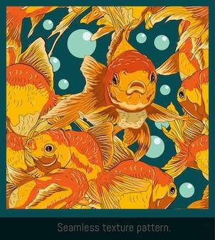 Arte de patrones sin fisuras de dibujar peces dorados nadando.
