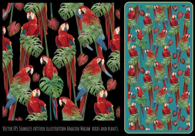 Arte de patrones sin fisuras de pájaros guacamayos de alas verdes y hojas tropicales.