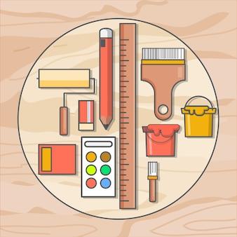 Arte pintura herramientas de madera