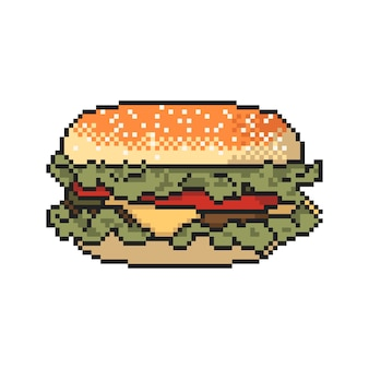 Arte del pixel de la hamburguesa en el fondo blanco. ilustración vectorial