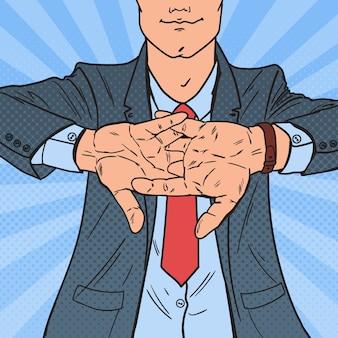 Arte pop empresario exitoso frotándose las manos