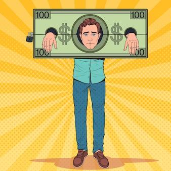 Arte pop estresado hombre prisionero de dinero