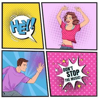 Arte pop feliz joven y hombre bailando. adolescentes emocionados. cartel vintage disco club, cartel de música con burbujas de discurso comis.