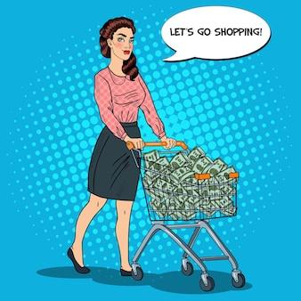 Arte pop feliz mujer rica con carrito de compras lleno de dinero. ilustración