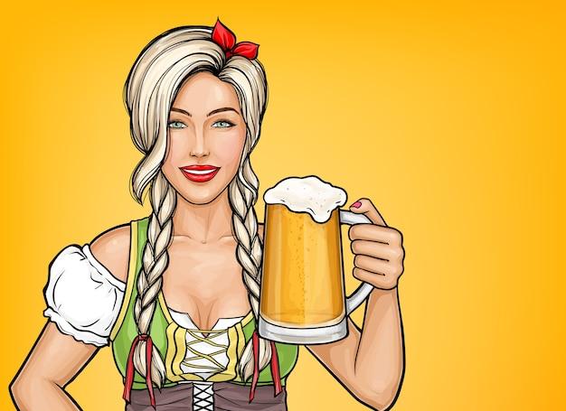 Arte pop hermosa camarera sosteniendo un vaso de cerveza en la mano. celebración de oktoberfest, chica rubia sonriendo en traje tradicional alemán con bebida alcohólica.