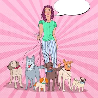 Arte pop hermosa mujer paseando una jauría de perros
