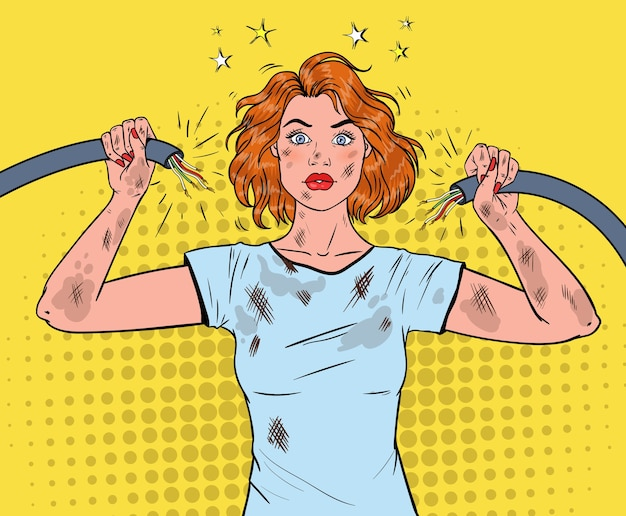Arte pop hermosa mujer sosteniendo el cable eléctrico roto después de un accidente doméstico.