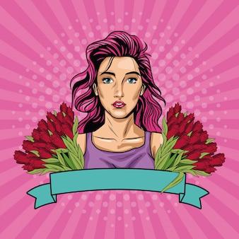 Arte pop de mujer con banner de cinta y flores