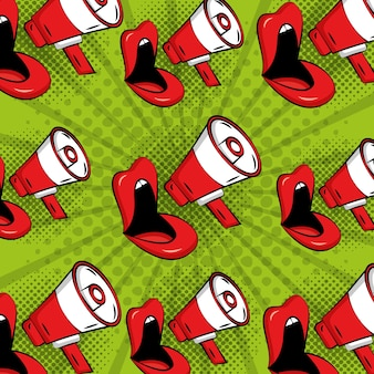 Arte pop mujer labios cómicos megáfono estilo vintage fondo