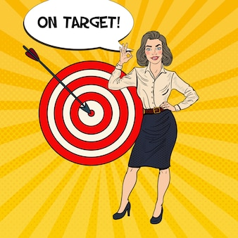 Arte pop mujer de negocios exitosa logró el objetivo. Vector Premium
