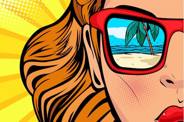 Arte pop mujer con playa y mar reflejo en verano.