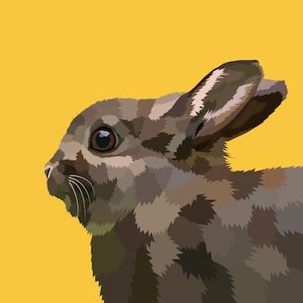 Arte pop poligonal de conejo