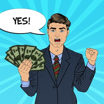 Arte pop rico empresario sosteniendo billetes de dólar de dinero con bocadillo de diálogo cómico. ilustración retro