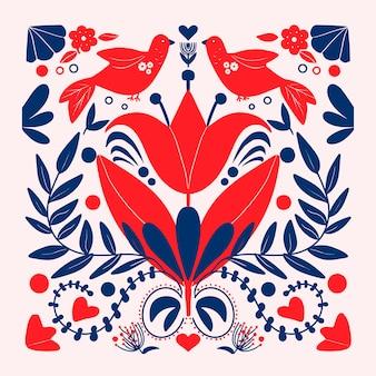 Arte popular colorido con ilustración floral y pájaros