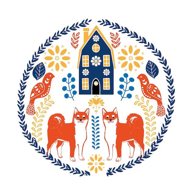 Arte popular escandinavo con pájaros y flores.