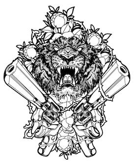 Arte del tatuaje cara de tigre dentro de la pistola y flores sobre fondo blanco.
