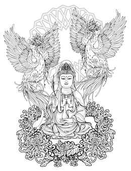 Arte del tatuaje diseño de guan yin china y dibujo y boceto a mano de cisne