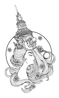 Arte del tatuaje de una mujer con un dibujo y dibujo a mano de sombrero gigante tailandés