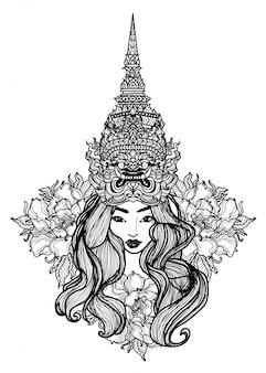 Arte del tatuaje una mujer vestida con un sombrero gigante tailandés dibujo y dibujo a mano