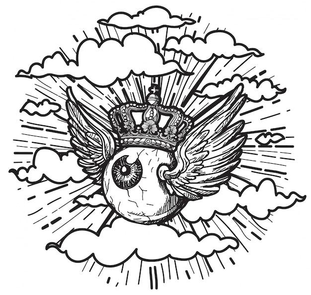 Arte del tatuaje los ojos tienen alas volando en el cielo.