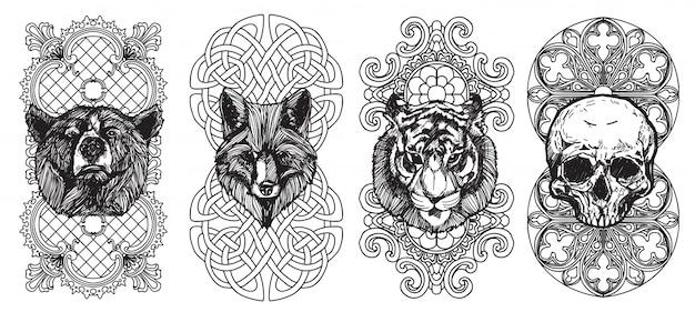 El arte del tatuaje, el oso zorro y el tigre, dibujo a mano y dibujo con la ilustración de arte lineal.