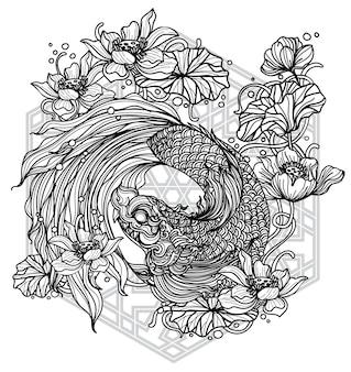 Arte del tatuaje peces tailandeses en estanque con flores de loto patrón literatura dibujo a mano dibujo