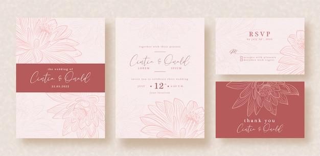 Arte de vector de loto en plantilla de invitación de boda rosa roja