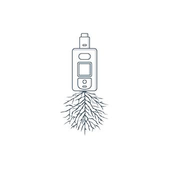 Arte de vector de tema de raíz de vapor de cigarrillo eléctrico