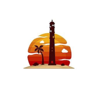 Arte de vector de vista de isla de playa de faro