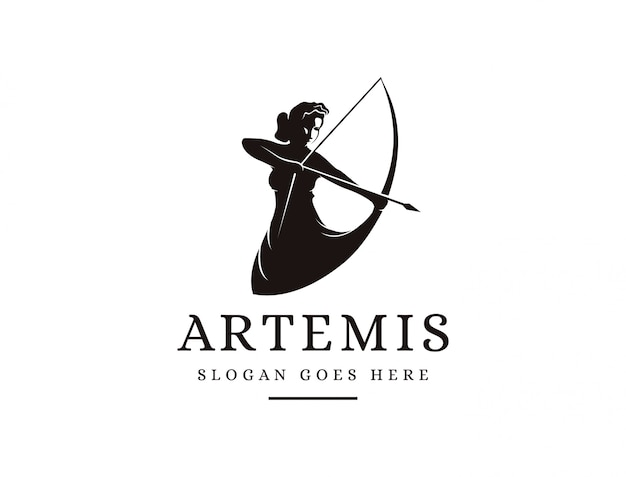 Artemis goddess logo icon illustration vector, archer logo