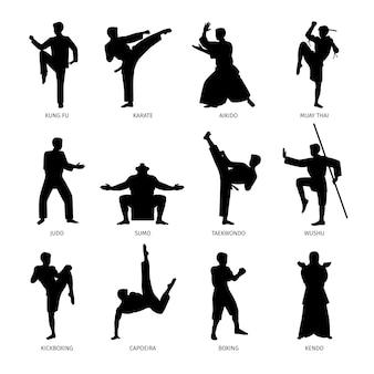 Artes marciales asiáticas negras siluetas
