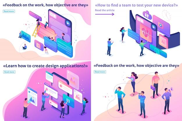 Artículo de plantilla isométrica dispositivo de prueba de concepto brillante, comentarios, diseño de experiencia de usuario, únete a nuestro equipo