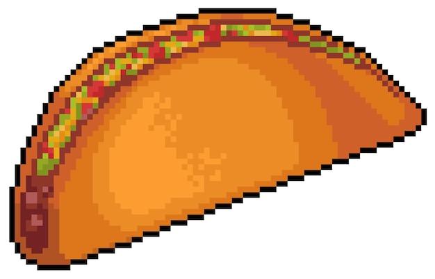 Artículo de taco mexicano de pixel art para alimento de juego de bits
