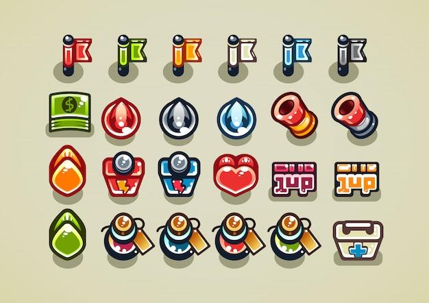 Artículos de arriba hacia abajo para un videojuego.