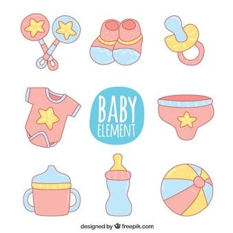 Artículos de bebé dibujados a mano en colores pastel