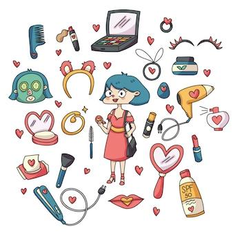 Artículos de belleza lindo personaje doodle